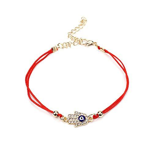 Full Crystal Evil Eyes Lucky Hamsa Evil Protect Kabbalah Red String Bracelets,Type 4 ()