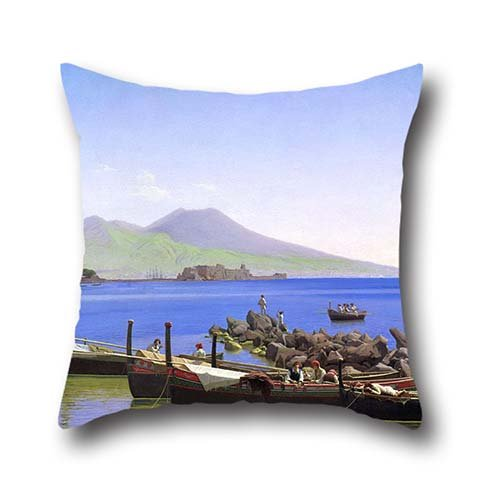 Oil Painting Christen Schiellerup K?bke - Bay Of Naples Throw Cushion Covers ,best For Bedding,him,divan,dinning Room,christmas,club 20 X 20 Inch / 50 By 50 Cm(2 Sides)