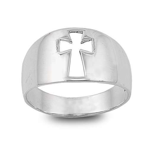 Princess Kylie 925 Sterling Silver Simple Cross Cut Out Ring Size 6 (Ring Cut Out Cross Small)