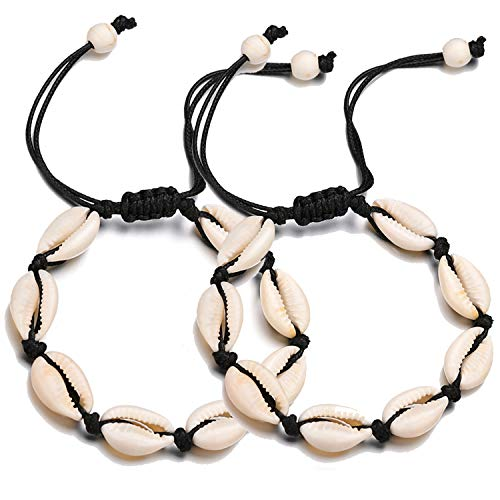 Chain Shell - FiveLucky 2 Pack Adjustable Shell Anklets Set Puka Cowrie Beach Foot Chain (2 Shell Bead Black)