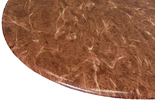 """Table Cloth Round 36"""" to 48"""" Elastic Edge Fitted Vinyl Table Cover Florentine Marble Pattern Tan"""