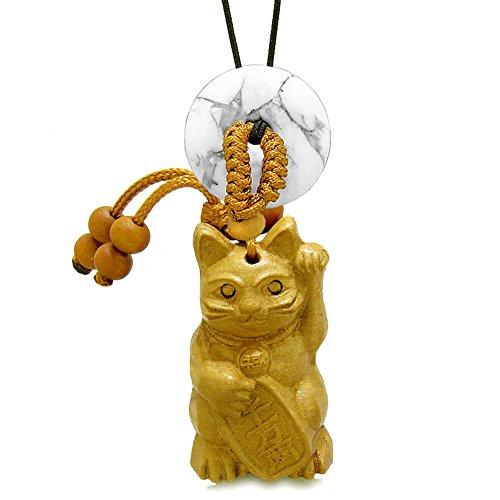 (Maneki Neko Fortune Cat Car Charm or Home Decor White Howlite Coin Donut Protection Powers Magic Amulet)