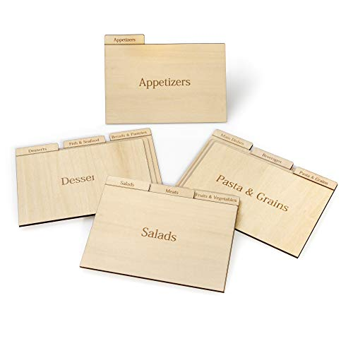 Recipe Box Dividers - Prosumer's Choice Real Wood Recipe Organizer Categorized by Specialty, for 4x6 Inch Cards