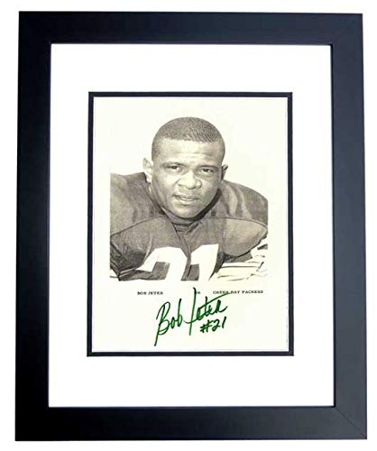 Bob Jeter Signed - Autographed Green Bay Packers 8x10 inch Photo BLACK CUSTOM FRAME - 3x NFL Champion - Deceased 2008 from Real Deal Memorabilia