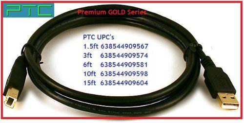 15 ft PTC Premium GOLD Series USB2.0 CERTIFIED A-B Device cable