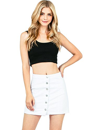 I & M Women's Juniors Stretchy High Waist A Line Denim Mini Skirt (S, White)