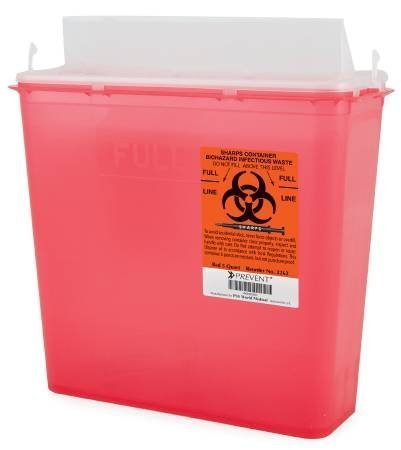 McKesson Prevent Sharps Containers 2-Piece, Red Base, 5 Quart (10.75H X 10.5W X 4.75D Inch) - Case of 20 (10 per Box, 2 Boxes per Case) by McKesson