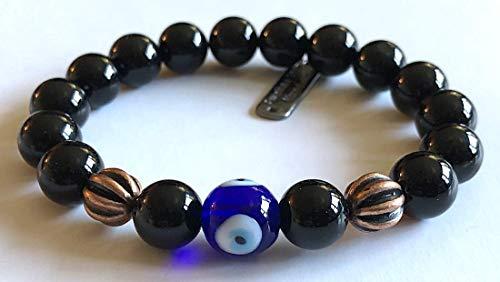 (Evil eye Mala Beads Protective wrist Bracelet Black Onyx Root Chakra 10 mm Mala Beads copper healing Bracelet w/copper alloy spacers, Repels negativity | US Seller)