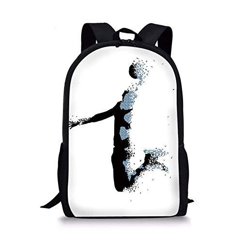 ZOZGETU backpack School Bags Teen Room Decor,Modern Stylized Basketball Player in Fractal Pattern Artistic Design,Black Light Blue for Boys&Girls Mens Sport -