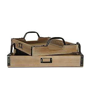 Wooden Metal Handle Serving Tray, Set of 2, (Wrought Iron, Cedar)