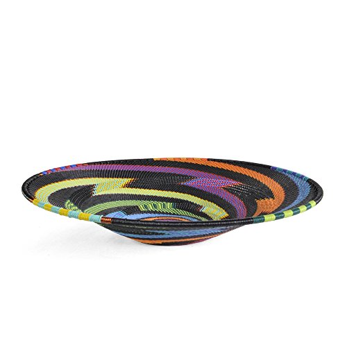 African Zulu Telephone Wire - Fair Trade Zulu Telephone Wire 12-inch Platter Basket, African Rainbow