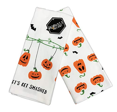 Roswell Relics Let's Get Smashed Halloween Pumpkins Set of Two Decorative Kitchen Guest Hand Towels