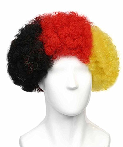 (Germany National Team Country Flag Afro Cosplay Party Costume Wig,)