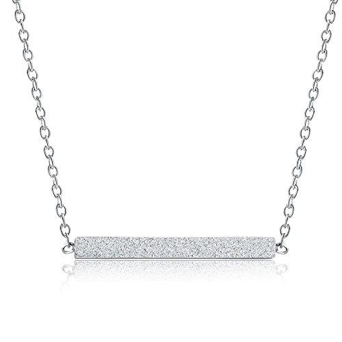 Rosa Vila Minimalist Bar Necklace - Simple Horizontal Bar Necklace for Women (Silver Tone) - Minimalist Everyday Necklace