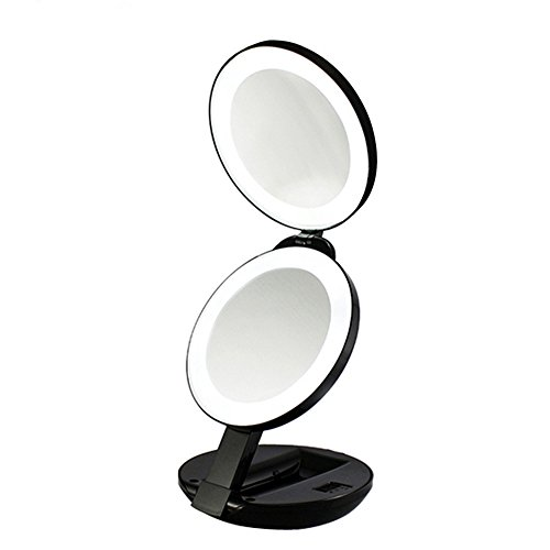 "Wide Illuminated Mirror (Folding Travel Makeup Mirror LED Lighted - 10x and 1x Magnification, YTOM Handheld Magnifying Mirror for Girls Women 4"" Wide Illuminated Cosmetic Vanity Mirror with Protective Pouch (Black))"