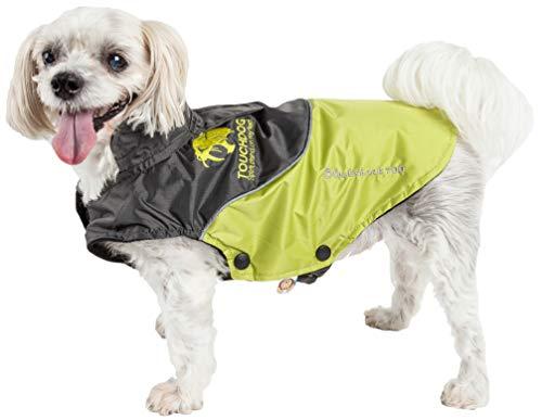 TOUCHDOG 'Subzero-Storm' Waterproof 3M Reflective Pet Dog Coat Jacket with Heavy-Duty Velcro w/ Blackshark Technology, Small, Olive Green, Black