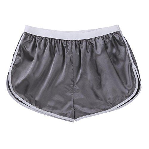 MSemis Men's Shiny Silky Satin Boxer Shorts Panties Lounge Sports Shorts Pants Swim Trunks Silver-Gray Large (Waist 29.0