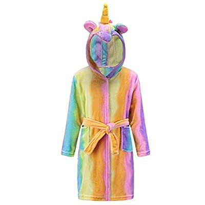 Kids Unicorn Pajamas Girls Sleeping Robe Soft Fleece Hooded Nightgown Loungewear Clothes