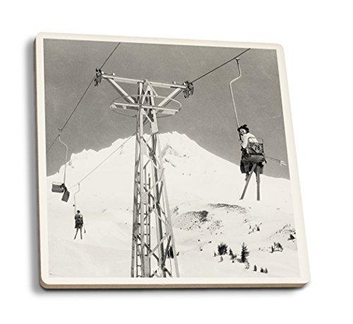 Mt. Hood, Oregon - Timberline Lodge Mile Long Chair Ski Lift - Vintage Photograph (Set of 4 Ceramic Coasters - Cork-Backed, ()