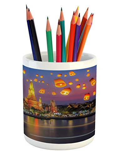 Lantern Pencil Pen Holder by Ambesonne, Wat Arun Temple Thailand Bangkok Coastline People Wishing Positive Asian Culture, Printed Ceramic Pencil Pen Holder for Desk Office Accessory, Multicolor (Bangkok Thailand Patio)