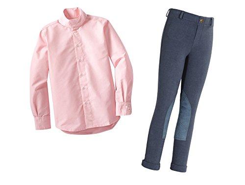 Tuffrider Girl's Pull on Jods Breech with Starter Long Sleeve Show Shirt- 2 Items Bundled by Maven Gifts, Denim Jods/Pink Shirt, Size 16 (Louis Starter Blues)