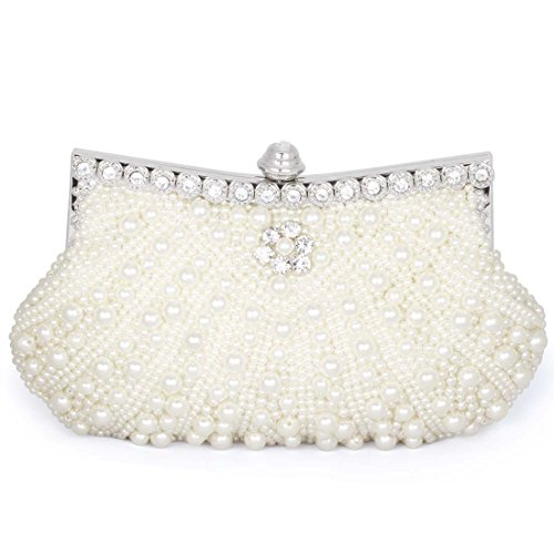 BMC Womens Bright Ivory Faux Pearl Cascading Bead Rhinestone Encrusted Evening Clutch Cocktail Party Fashion (Ivory Handbag Purse)