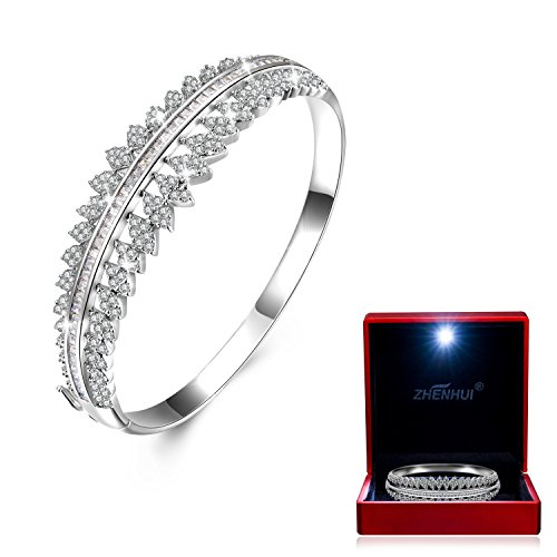 White Gold Plated Cubic Zirconia Women Bangle Bracelet For Mom Wife Birthday...