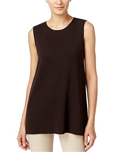 Eileen Fisher Women's Round Neck Wool Crepe Long Tank (Clove, X-Small)