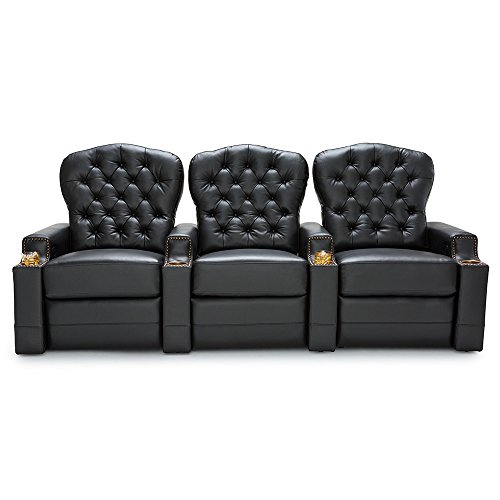 Seatcraft Imperial Leather Home Theater Seating Power Recline - (Row of 3, Black) by SEATCRAFT