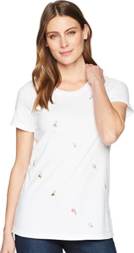 T-shirt Medium White Embroidered (Mod-O-Doc Women's Classic Jersey Ditsy Embroidered Short Sleeve T-Shirt White Medium)