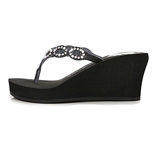 FAIRYRAIN de Por Mujer Estar Para casa Zapatillas Negro 224 BHUITRFETk qRvwtrR