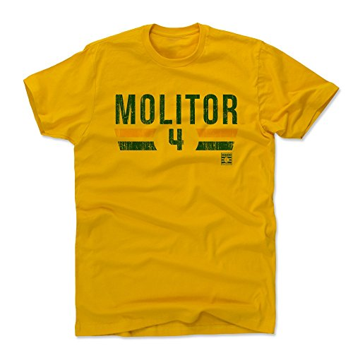 (500 LEVEL Paul Molitor Cotton Shirt (Large, Gold) - Milwaukee Brewers Men's Apparel - Paul Molitor Font by)