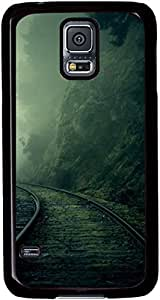 Railroad Through The Foggy Valley Cases for Samsung Galaxy S5 I9600 with Black sides