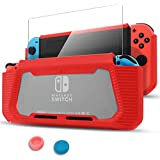 Pakesi Case for Nintendo Switch, Compatible with Nintendo Switch Cover Case with Tempered Glass Screen Protector (Rubber + PC Transparent Back Cover)-Red