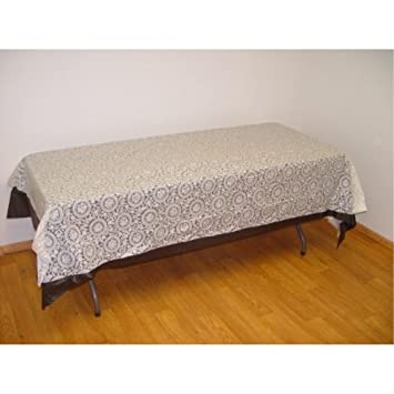 Exquisite Plastic Tablecloth 54in. X 108in. Plastic Rectangle Table Cover    White Lace