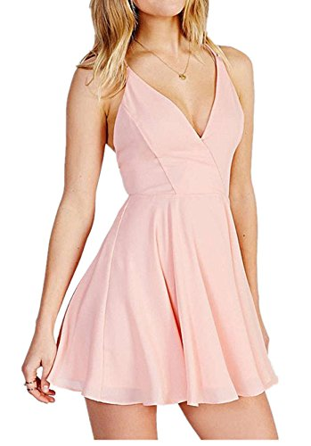 Enlishop Women's Sexy V Neck Chiffon Slim Fit Pleated A line Party Dress Pink