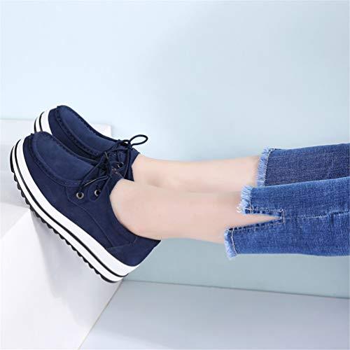 Blu Scarpe Mocassini Sneakers Pizzo Scarpe Navy Casuale Donna Pelle Donna Scamosciata Autunno w6AqR7v