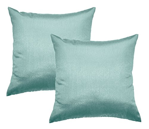 Aiking Home 26x26 Inches Faux Silk Square European Shams, Zipper Closure, Aqua (Set of 2)