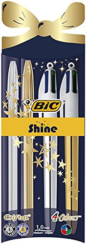 BiC 4 Colour Shine Cristal Retractable Ballpoint Pen, Christmas Set -  Gold/Silver,