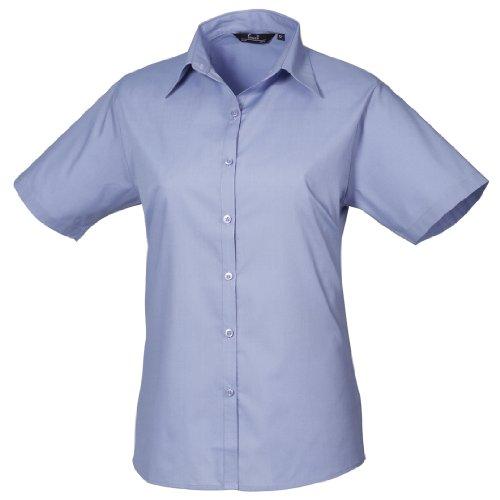 Ladies Premier Poplin Classique Sleeve Workwear Femme Bleu Blouse Short 544xHOwq
