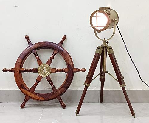 Antique Marine Small Desk Spotlight Maritime Brown Tripod Nautical Office Lamp