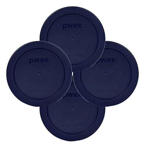 Pyrex Blue 2 Cup Round Storage Cover #7200-PC for Glass Bowls 4-Pack