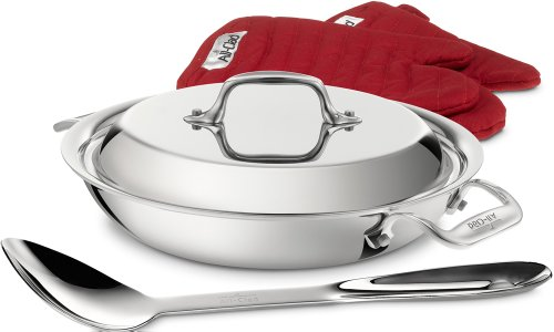All-Clad 41508 Stainless Steel Tri-Ply Bonded Dishwasher Safe All Purpose Pan with Domed Lid / Oven Mitts and Spoon / Cookware, 8-Inch, Silver