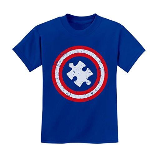 Tstars TeeStars – Autism Awareness – Children's Captain Autism Kids T-Shirt Medium Blue