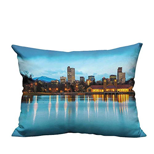 (YouXianHome Decorative Throw Pillow Case Denver Ferril Lake Colorado at The City Park Capital Sky Blue Yellow Ideal Decoration(Double-Sided Printing) 19.5x30)
