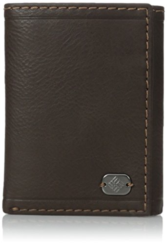 Leather Wallet - Big Skinny Trifold Vertical Security Protection Credit Card Slots and ID Window,Beacon Rock Brown ()