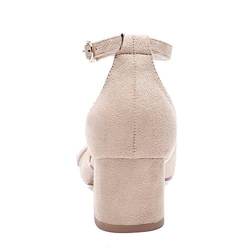 KJJDE Femmes Chaussures Compensées Sandales JZTC-1594 Boucle Métallique High Talon Sangle De Cheville 5CM Beige labSR8c