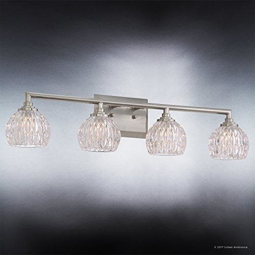 Luxury Crystal LED Bathroom Vanity Light, Large Size: 6.25''H x 28''W, with Classic Style Elements, Brushed Nickel Finish and Marquis Cut Glass Shades, G9 LED Technology, UQL2622 by Urban Ambiance by Urban Ambiance (Image #2)