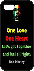 iphone 5 5S case - One Love, One Heart, Let's Get Together and Be All Right - Bob Marley - Black Plastic Protective Case - Love, inspiration and motivation quotes