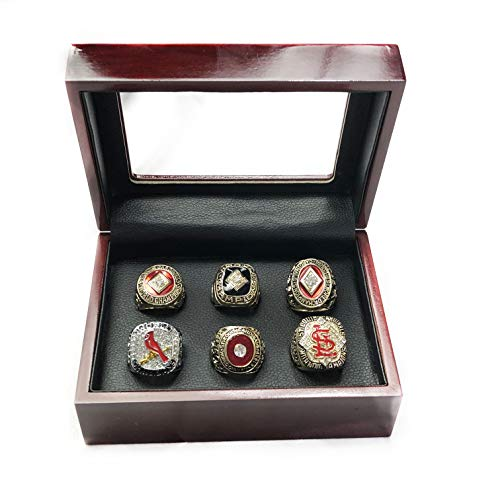 Nine Culture Set of 6 Cardinals Championship 1931 1934 1964 1967 2006 2011 Rare Collectible Replica Gold Collectible Baseball Fan Gift Fashion Size11 with A Wooden Box (1964 St Louis Cardinals World Series Ring)